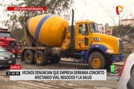 Surco: Vecinos afectados por derrame de cemento desde camiones