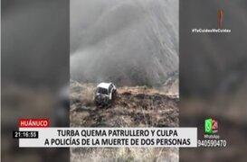 Huánuco: enardecidos pobladores quemaron patrullero policial y casi toman comisaría