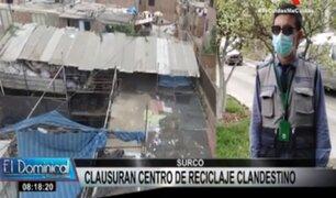 Surco: local de reciclaje es clausurado por no contar con licencia de funcionamiento