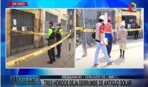 Cercado de Lima: antigua casona a punto de colapsar tras derrumbe de pared