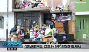 Los Olivos: vecinos denuncian que familia convierte su casa en depósito de basura