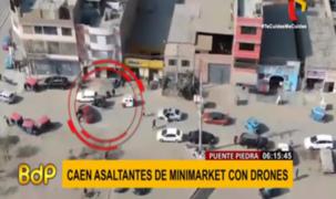 PNP frustra asalto y captura a delincuentes con ayuda de drones