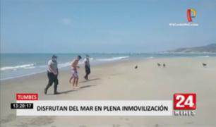Tumbes: detiene a dos sujetos disfrutando del domingo en el balneario de Zorritos