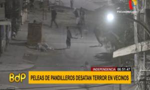 VIDEO: instante en que pandilleros se atacan con sables y piedras en Independencia