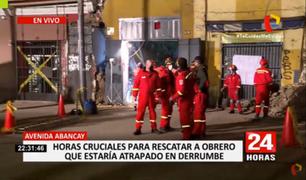 100 bomberos participan en las labores para rescatar a obrero que quedó atrapado tras derrumbe