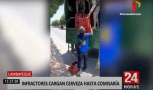Lambayeque: Policías castigan a sujetos que bebían licor cargando 20 cajas de cerveza