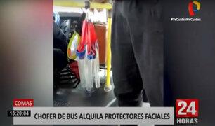 Comas: graban a conductor que alquilaría protectores faciales a pasajeros