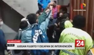 Huarochirí: sujetos sorprendidos jugando fútbol escaparon de intervención