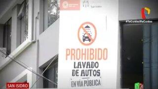 San Isidro: Multan hasta con 2 mil 580 soles por lavar autos en las calles