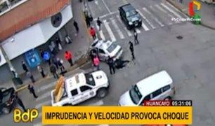 Huancayo: cámara registró choque frontal entre vehículos