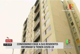 Breña: violación a la intimidad estaría cometiendo condominio que pide saber si uno tiene COVID-19