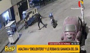 SMP: delincuentes asaltan a joven emolientero en la puerta de su casa