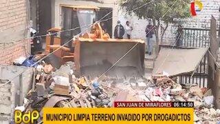 Municipalidad de SJM limpió terreno que se habia convertido en botadero de basura