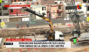 Callao: vecinos denuncian que obras de Línea 2 están causando daños a sus viviendas