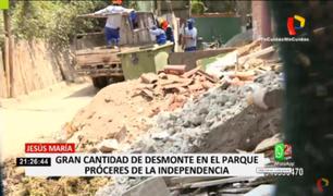 Jesús María: punto de acopio de desmonte funciona en parque Próceres de la Independencia