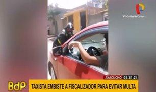 Ayacucho: taxista embistió y se llevó a fiscalizador para escapar de intervención