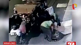 Miraflores: Recicladores roban tapa de buzón en Av. Paseo de la República