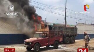 San Luis: camión se incendió en plena Av. Circunvalación