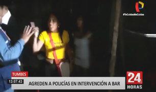 Tumbes: mujeres se enfrentan a la Policía para evitar cierre de bar clandestino