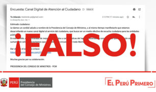 PCM alerta sobre correo con información falsa para encuesta