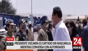 Tacna: presidente Vizcarra fue captado sin mascarilla mientras conversaba con autoridades