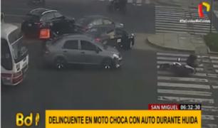 San Miguel: delincuente sufrió aparatoso choque cuando huía de la policía