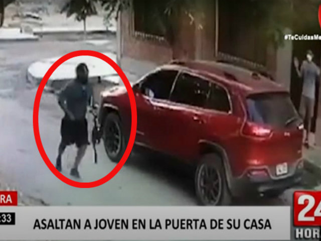 Piura: delincuentes en moto lineal asaltan a joven en la puerta de su casa