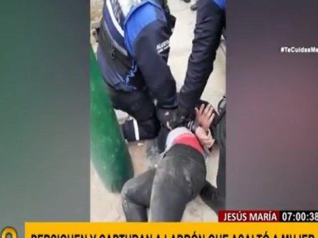 Jesús María: serenos detienen a delincuente tras asalto a mujer