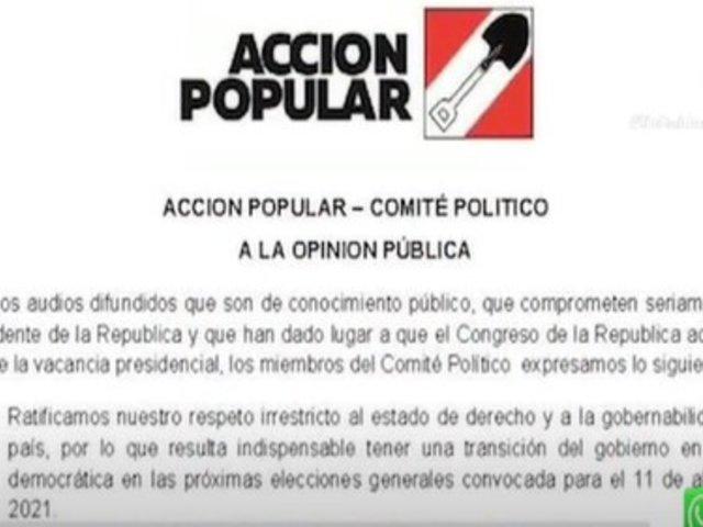 Comunicados diferentes evidencian cisma político en Acción Popular