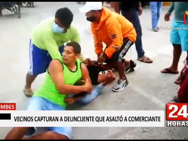 Tumbes: vecinos capturan a delincuente que robó 5 mil soles a comerciante