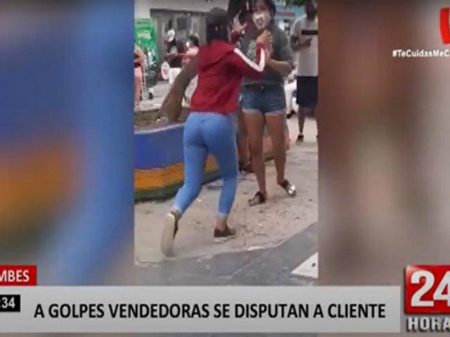 Tumbes: dos comerciantes se agarraron a golpes por un cliente