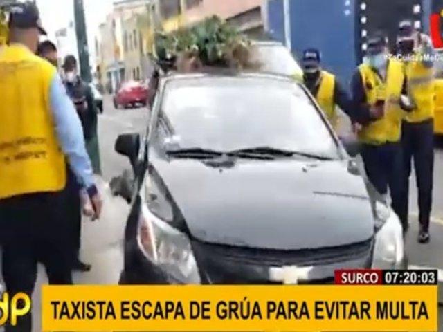 Policía y serenos de Surco capturan a taxista que se dio a la fuga arrollando todo a su paso