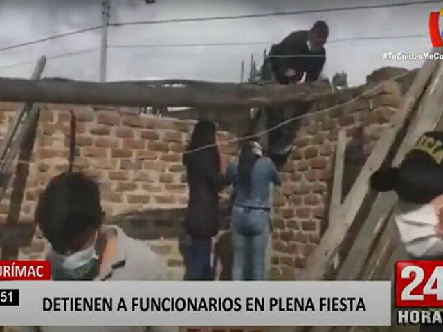 Apurímac: trabajadores públicos intentan huir al ser intervenidos por celebrar aniversario