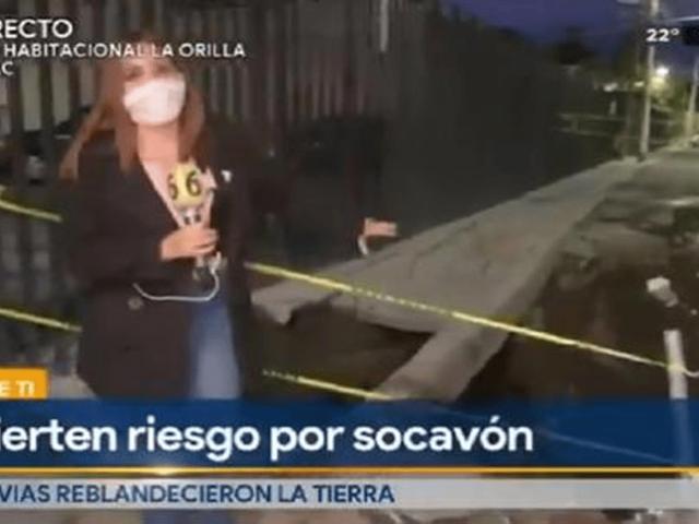 Camarógrafo cae a socavón durante transmisión en vivo y reportera gritó del susto