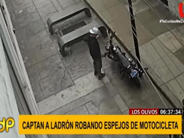 Los Olivos: ladrón se roba espejos de moto en menos de un minuto