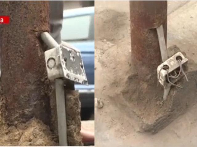 Postes en mal estado son un peligro latente en calles de Breña