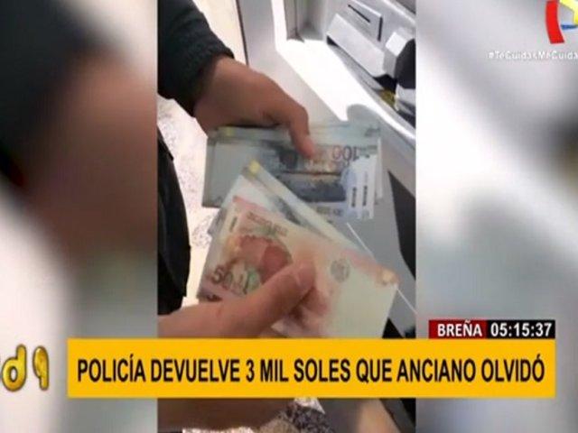 Policía devuelve S/ 3 mil soles que anciano dejó olvidado en cajero