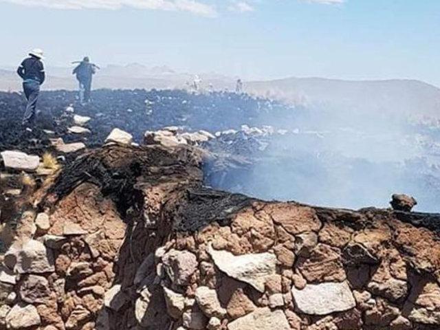 Incendio arrasa viviendas y varias hectáreas de pastizales en Puno