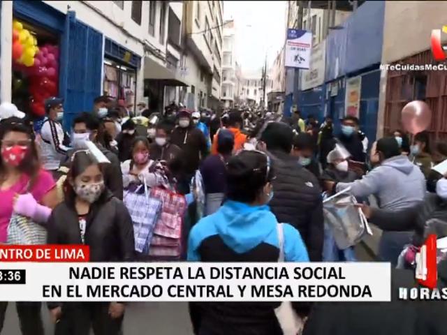 Centro de Lima: caos y aglomeración en el Mercado Central y Mesa Redonda