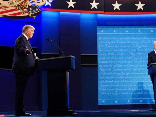 Donald Trump y Joe Biden en primer debate presidencial en Estados Unidos