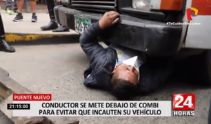 Puente Nuevo: chófer queda atrapado tras meterse debajo de su vehículo para impedir decomiso