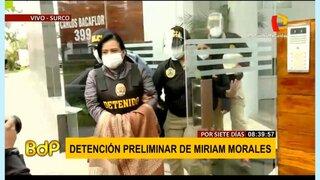 Mirian Morales llegó así a la Prefectura tras detención en Surco