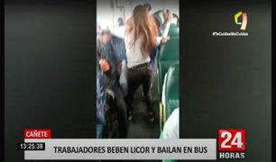 Cañete: agricultores celebran cosecha bebiendo en un bus