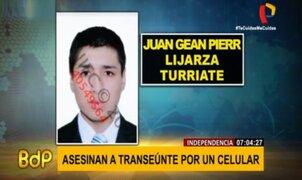 Delincuentes asesinan a joven para robarle su celular en Independencia