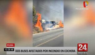 Piura: extraño incendio se inició en cochera de buses de transporte urbano