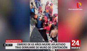 Independencia: trabajador muere aplastado tras derrumbe de muro de contención