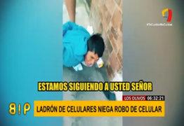 Los Olivos: delincuente niega robo de celular tras ser seguido por la policía