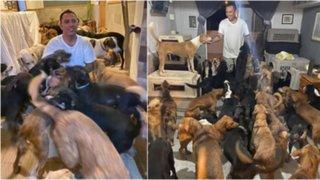México: hombre resguarda 300 perros callejeros en su casa para protegerlos de huracán Delta
