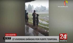 Tarapoto: torrencial lluvia y fuerte granizo dejan 27 viviendas afectadas