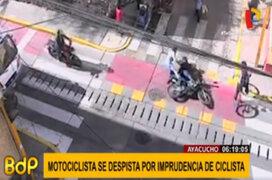Ayacucho: cámara de seguridad registró despiste de una moto por ciclista